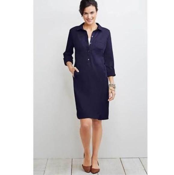 J. Jill Dresses & Skirts - J Jill Navy Live in Chino Khaki Shirt Dress